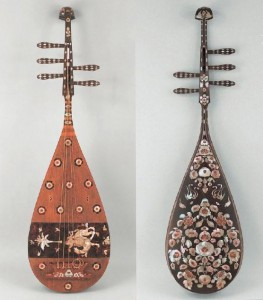 Shoso-in hidden mother-of-pearl rosewood five strings in tang dynasty pipa, left and right sides of positive and negative respectively.